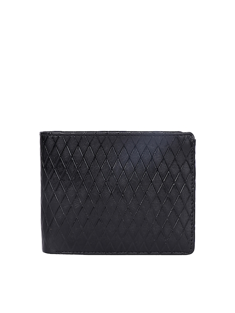 Harp Men Black Textured Leather Wallet