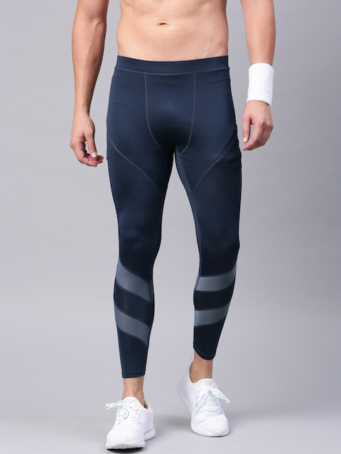 HRX by Hrithik Roshan Active Blue Striped Tights