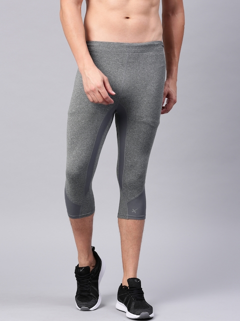 23cad7cf54 40%off HRX by Hrithik Roshan Active Grey Melange 3/4th Length Tights