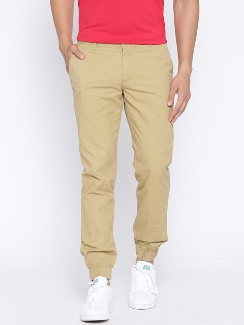 John Players Men Beige Solid Slim Fit Casual Trousers