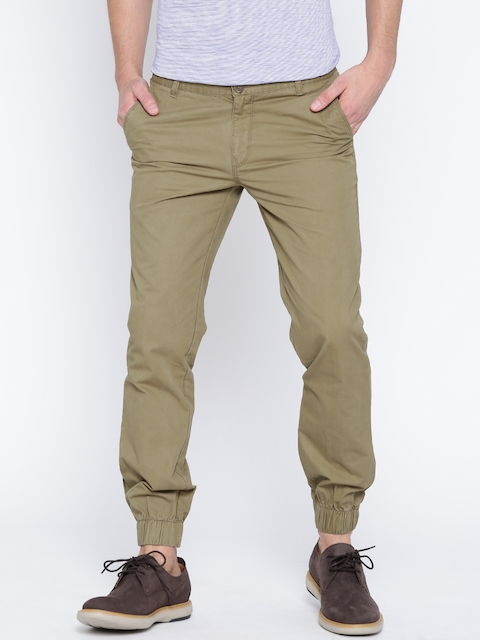 John Players Men Olive Green Slim Fit Joggers