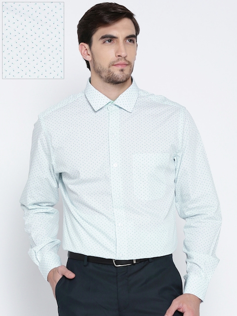 John Players Men White Slim Fit Printed Formal Shirt