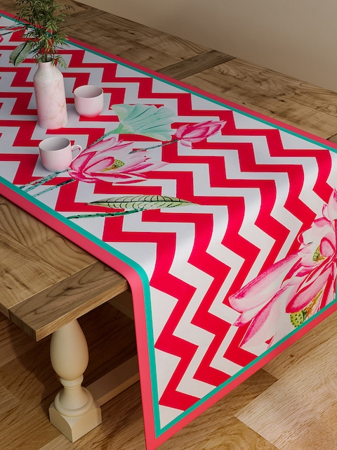 "SEJ by Nisha Gupta Pink & White Chevron Print Rectangular 48"" x 13 Cotton Table Runner"