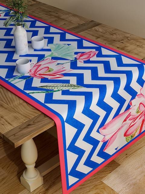 "SEJ by Nisha Gupta Blue & White Chevron Print Rectangular 48"" x 13"" Cotton Table Runner"