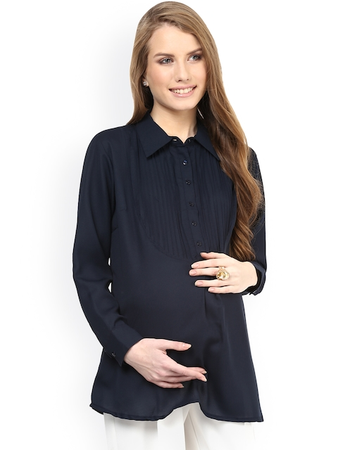 Mamacouture Women Navy Relaxed Fit Maternity Shirt