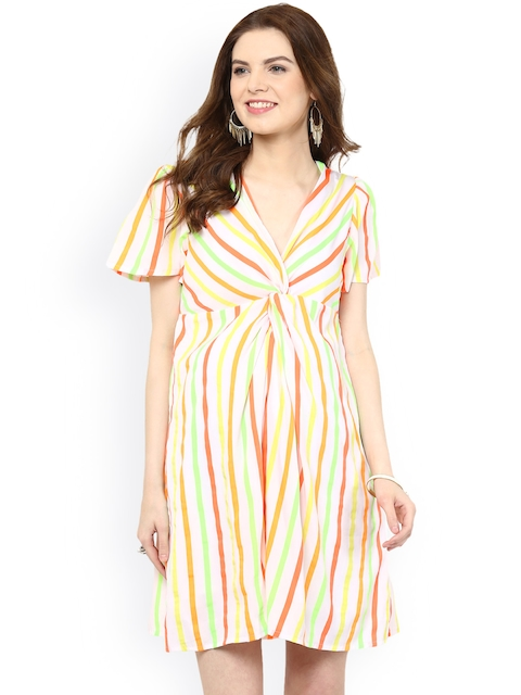 Mamacouture Women Multicoloured Striped Maternity A-Line Dress