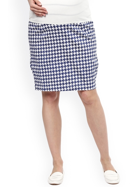 Mamacouture White & Navy Houndstooth Print Maternity Pencil Skirt