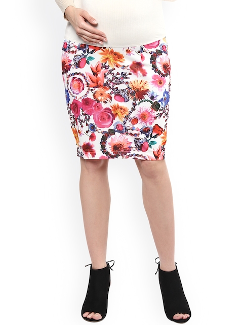 Mamacouture White & Pink Floral Print Maternity Pencil Skirt