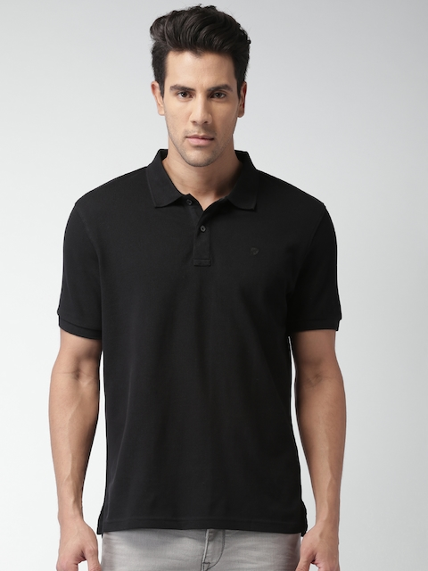 Celio Men Black Solid Regular Fit Polo T-shirt  available at myntra for Rs.749