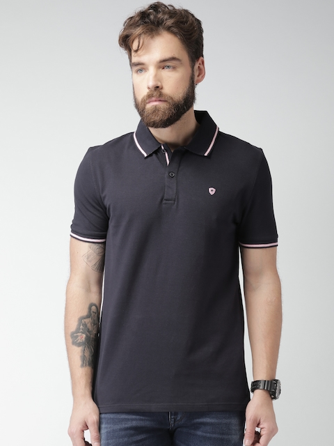 Celio Men Navy Blue Solid Slim Fit Polo T-shirt  available at myntra for Rs.779