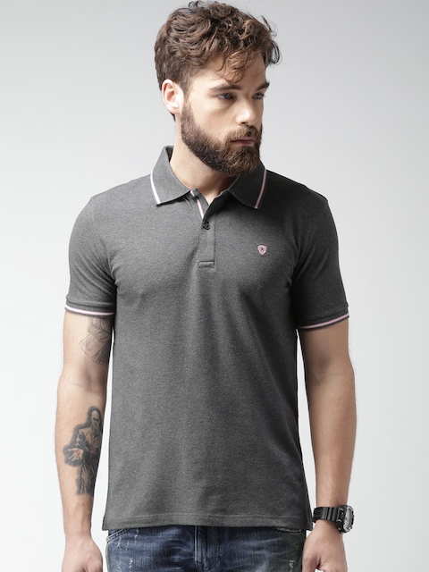 Celio Men Charcoal Grey Solid Polo T-shirt  available at myntra for Rs.974