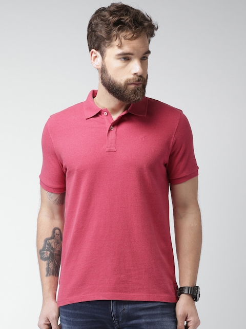 Celio Men Pink Solid Regular Fit Polo T-shirt  available at myntra for Rs.799