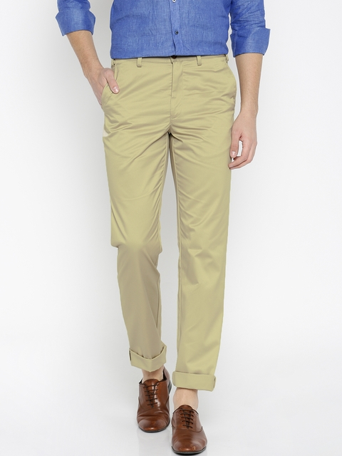 Park Avenue Men Beige Solid Slim Fit Chino Trousers