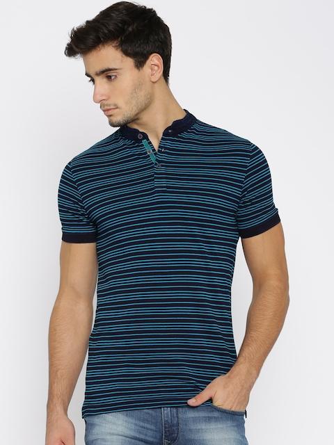 Park Avenue Men Navy Blue Striped Mandarin Collar T-Shirt