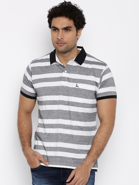 Parx Men Navy & White Striped Polo Collar T-shirt