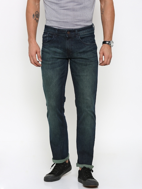Park Avenue Men Navy Tapered Fit Mid-Rise Clean Look Jeans
