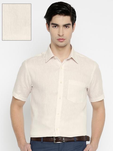Park Avenue Men Beige Regular Fit Solid Linen Formal Shirt