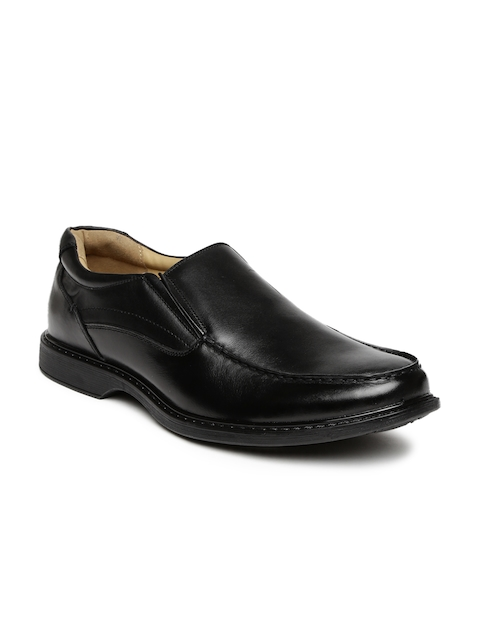 Hush Puppies Men Black Solid Leather Loafers