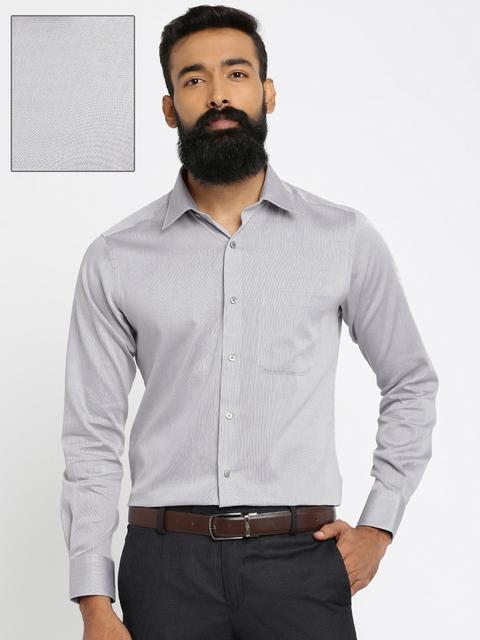 Raymond Men Grey Slim Fit Self Design Formal Shirt
