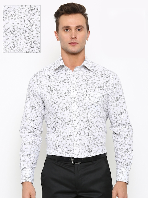 Raymond Men White Contemporary Fit Printed Formal Shirt