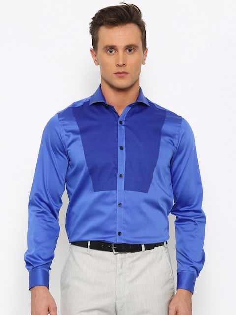 Raymond Men Blue Contemporary Fit Solid Partywear Shirt
