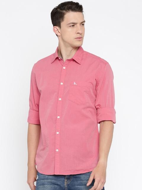 Parx Men Pink Slim Fit Solid Casual Shirt
