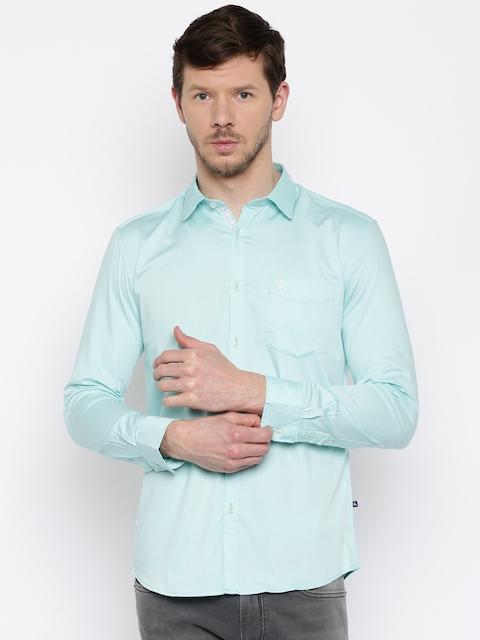 Parx Men Blue Slim Fit Solid Casual Shirt