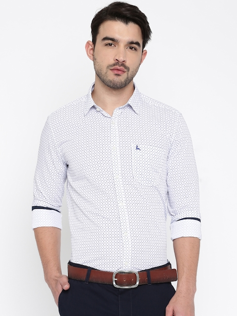 Parx Men White & Blue Printed Slim Fit Casual Shirt