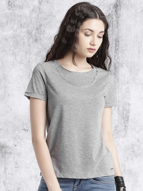 Roadster Women Grey Melange Solid Top
