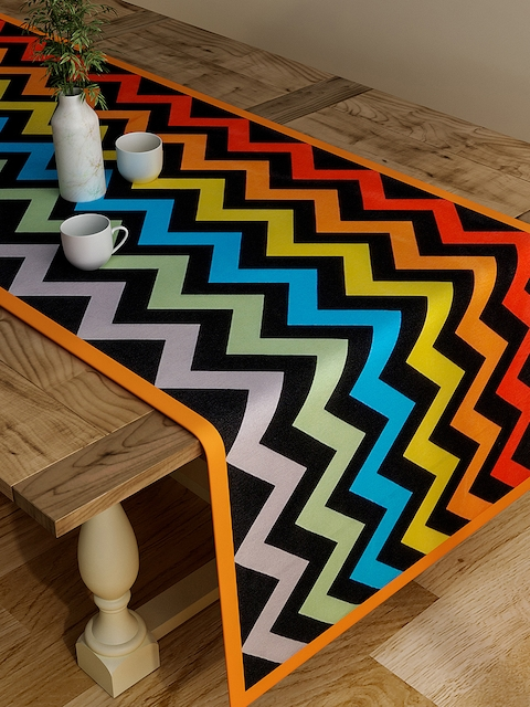"SEJ by Nisha Gupta Multicoloured Pirnted Rectangular 48"" x 13"" Cotton Table Runner"