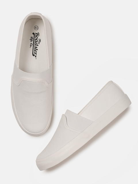 Roadster Men White Solid Regular Slip-On Sneakers