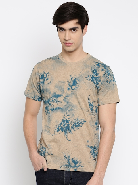 John Players Men Beige Printed Slim Fit Round Neck T-shirt