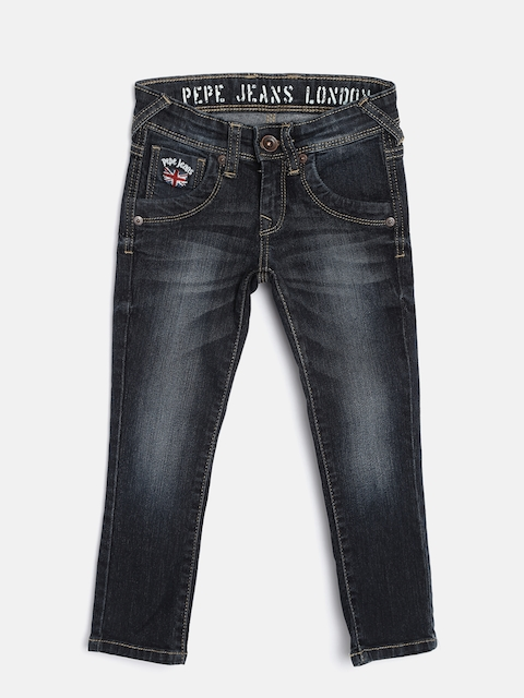 Pepe Jeans Boys Navy Slim Fit Mid-Rise Clean Look Jeans