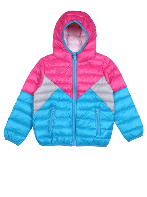 Lilliput Girls Turquoise Blue & Pink Colourblocked Hooded Bomber Jacket