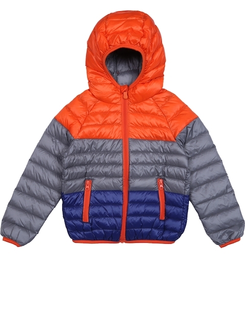 Lilliput Girls Grey & Orange Colourblocked Hooded Bomber Jacket