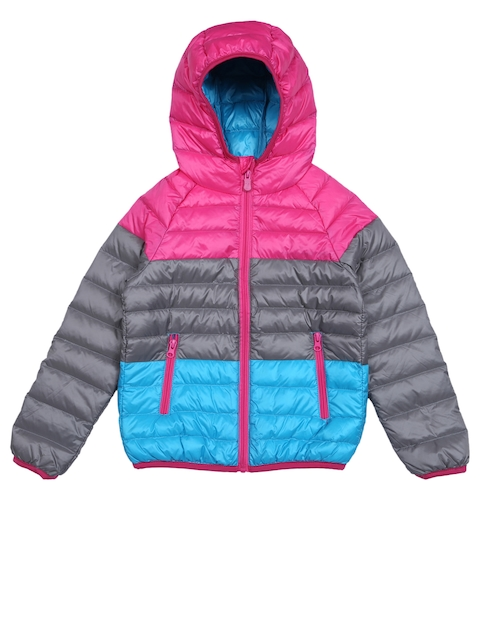 Lilliput Girls Pink & Grey Colourblocked Hooded Bomber Jacket