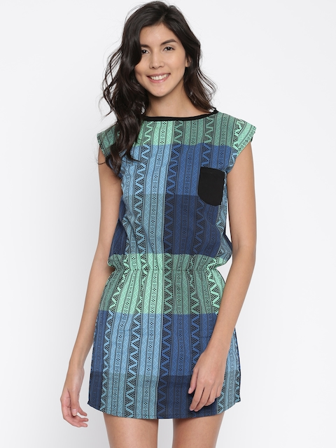 Clt.s Women Blue & Green Printed Beach Dress