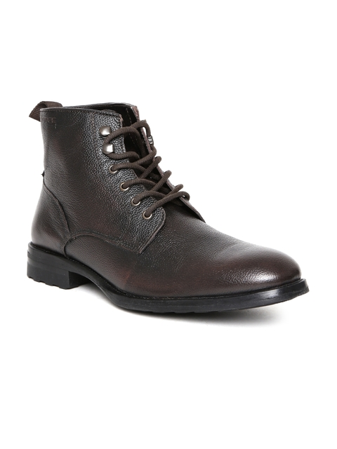 Red Tape Men Coffee Brown Solid Flat Boots