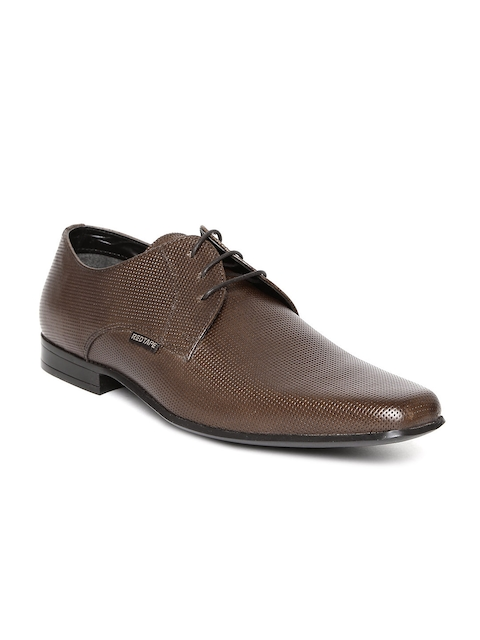 Red Tape Men Coffee Brown Textured Leather Formal Shoes