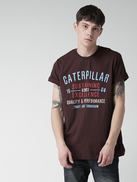 CAT Men Burgundy Today And Tomorrow Printed Round Neck T-shirt