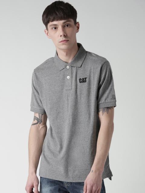 CAT Men Grey Melange Classic Logo Solid Polo Collar T-shirt