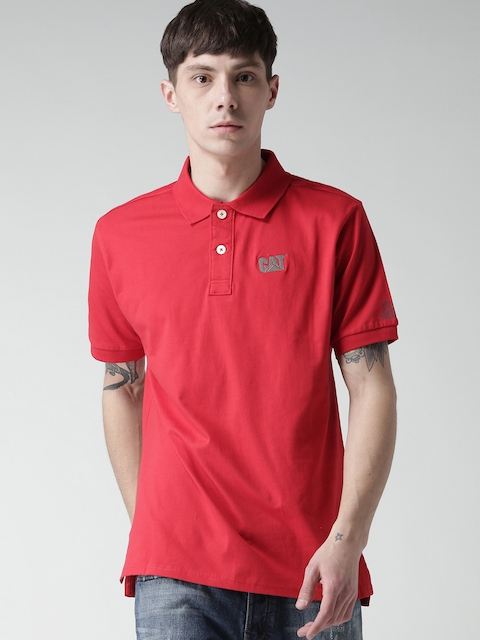 CAT Men Red Classic Logo Solid Polo Collar T-Shirt