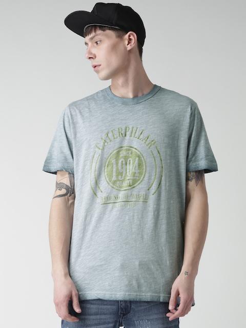 CAT Men Blue World Printed Round Neck T-shirt
