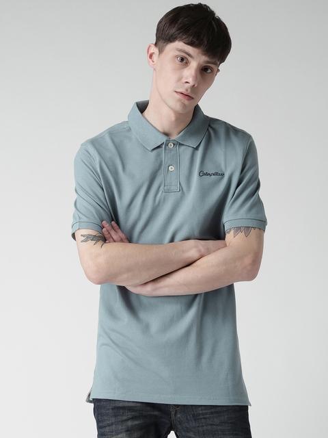 CAT Men Blue Classic Solid Polo Collar T-shirt