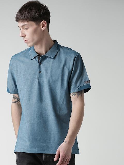 CAT Men Blue Momentum Solid Slim Fit Polo Collar T-shirt