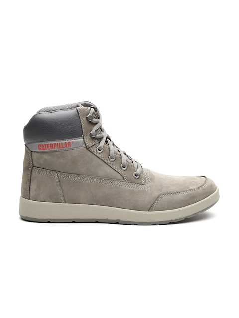 CAT Men Grey Solid Leather High-Top Flat Boots