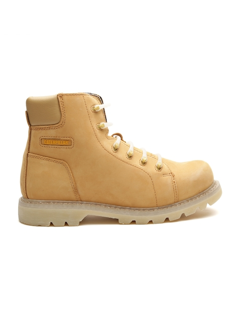 CAT Men Tan Brown Solid Leather High-Top Flat Boots