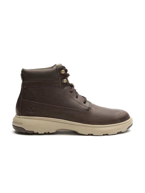 CAT Men Brown Mid-Top Leather Flat Boots