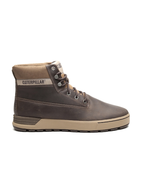 CAT Men Olive Brown High-Top Leather Flat Boots d88396f59c8