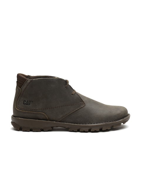 CAT Men Olive Brown Mid-Top Leather Flat Boots
